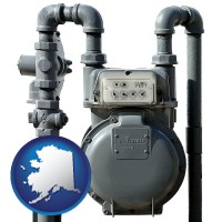 alaska map icon and a residential natural gas meter