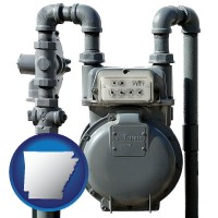 arkansas map icon and a residential natural gas meter