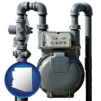 arizona map icon and a residential natural gas meter