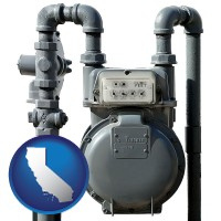 california map icon and a residential natural gas meter