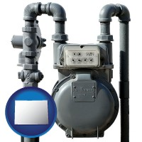 colorado map icon and a residential natural gas meter