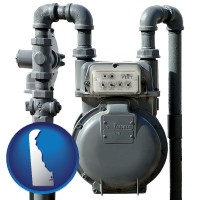 delaware map icon and a residential natural gas meter