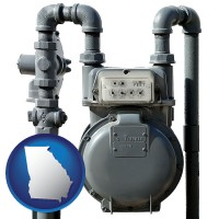 georgia map icon and a residential natural gas meter