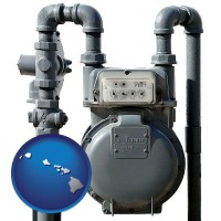 hawaii map icon and a residential natural gas meter