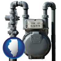 illinois map icon and a residential natural gas meter