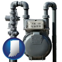 indiana map icon and a residential natural gas meter