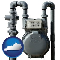 kentucky map icon and a residential natural gas meter