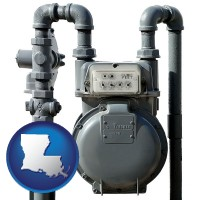 louisiana map icon and a residential natural gas meter