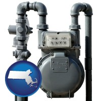 massachusetts map icon and a residential natural gas meter