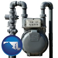 maryland map icon and a residential natural gas meter