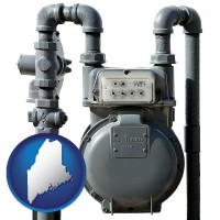 maine map icon and a residential natural gas meter