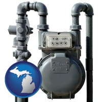 michigan map icon and a residential natural gas meter