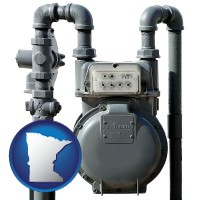 minnesota map icon and a residential natural gas meter