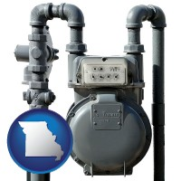 missouri map icon and a residential natural gas meter