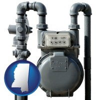 mississippi map icon and a residential natural gas meter