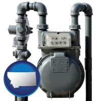 montana map icon and a residential natural gas meter
