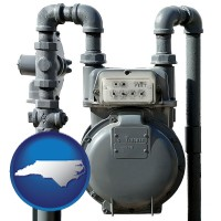 north-carolina map icon and a residential natural gas meter