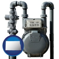 north-dakota map icon and a residential natural gas meter
