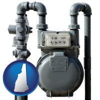 new-hampshire map icon and a residential natural gas meter