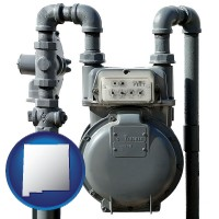 new-mexico map icon and a residential natural gas meter