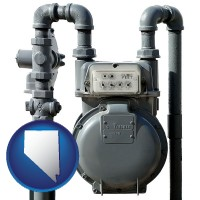 nevada map icon and a residential natural gas meter