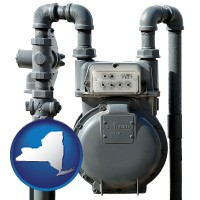 new-york map icon and a residential natural gas meter