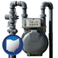 ohio map icon and a residential natural gas meter