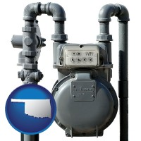 oklahoma map icon and a residential natural gas meter