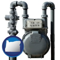 oregon map icon and a residential natural gas meter