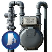 rhode-island map icon and a residential natural gas meter