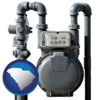 south-carolina map icon and a residential natural gas meter