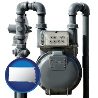 south-dakota map icon and a residential natural gas meter