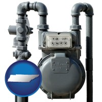 tennessee map icon and a residential natural gas meter