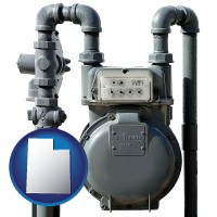 utah map icon and a residential natural gas meter
