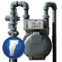 vermont map icon and a residential natural gas meter
