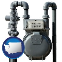 washington map icon and a residential natural gas meter
