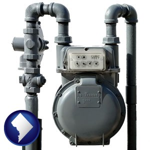 a residential natural gas meter - with Washington, DC icon