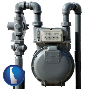 a residential natural gas meter - with Delaware icon