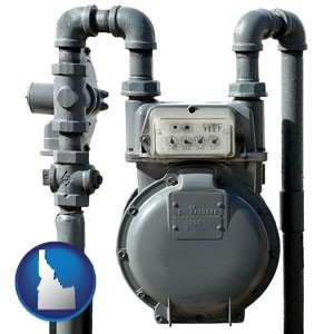 a residential natural gas meter - with Idaho icon