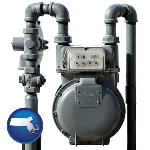 a residential natural gas meter - with Massachusetts icon
