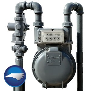 a residential natural gas meter - with North Carolina icon