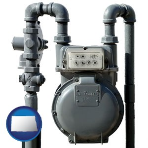 a residential natural gas meter - with North Dakota icon