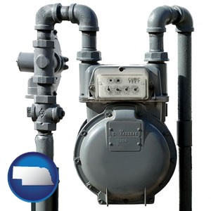 a residential natural gas meter - with Nebraska icon