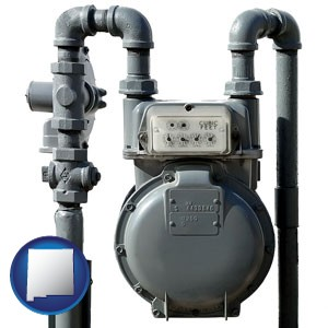 a residential natural gas meter - with New Mexico icon