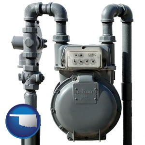 a residential natural gas meter - with Oklahoma icon