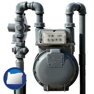 a residential natural gas meter - with Oregon icon