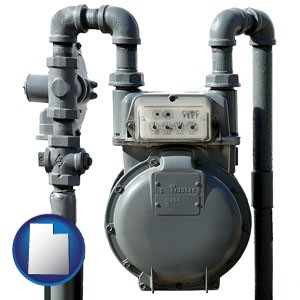 a residential natural gas meter - with Utah icon
