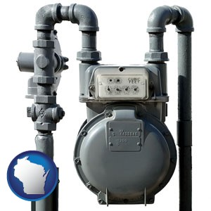 a residential natural gas meter - with Wisconsin icon